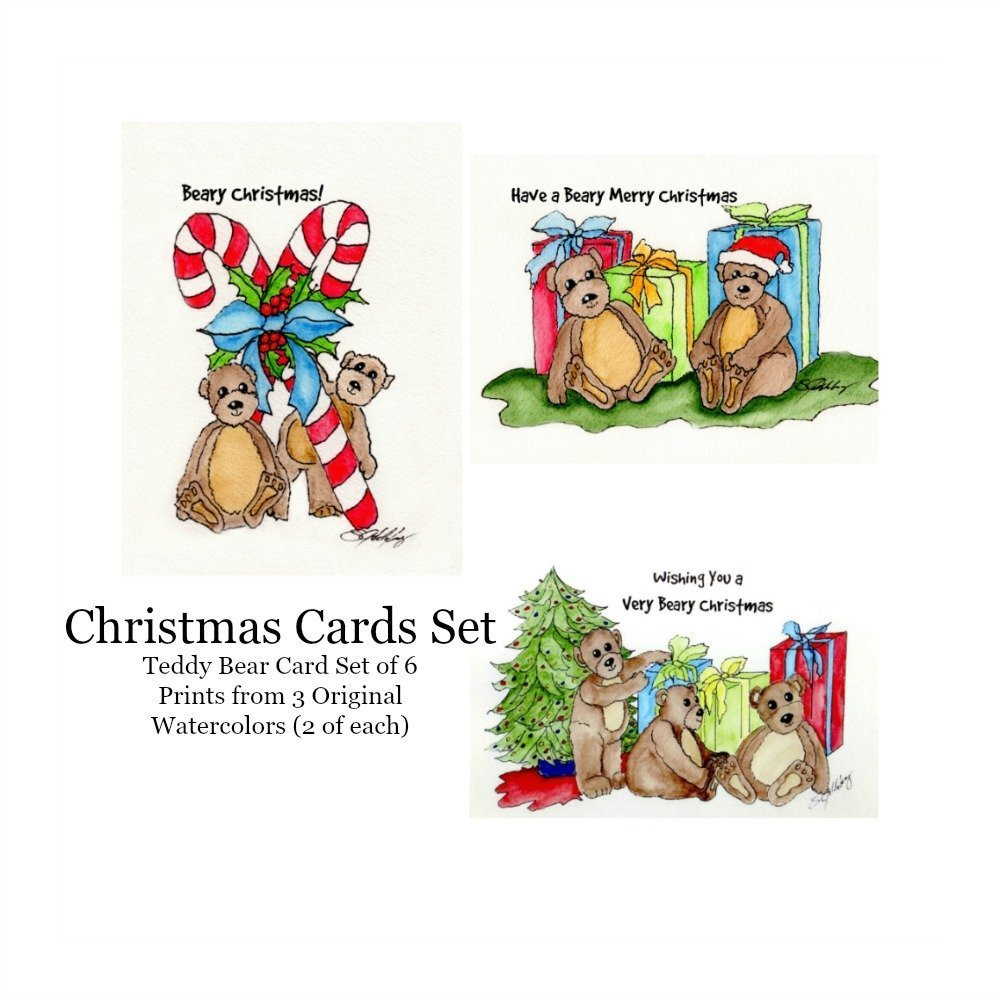 Amazon.com: Christmas Teddy Bear Cards Set of 6, Prints from ...