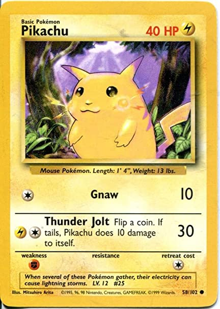 amazon com pokemon base set common card 58 102 pikachu toys games