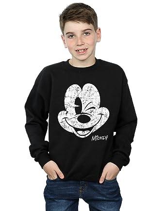Disney niños Mickey Mouse Distressed Face Camisa De Entrenamiento: Amazon.es: Ropa y accesorios