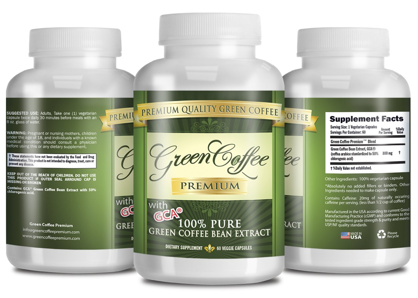 Green Coffee Bean Extract 100% PURE - 50% Chlorogenic Acid - 60 Capsules - Quick Fat Burner by Green Coffee Premium (Image #2)