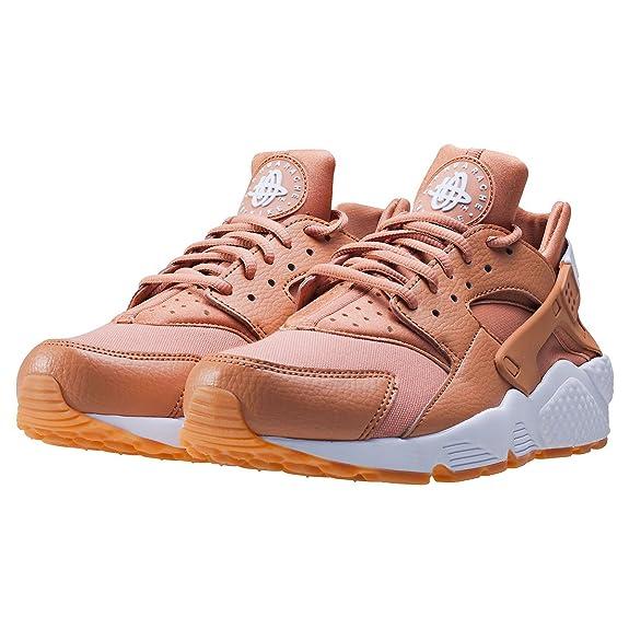 Nike Wmns Aire Huarache Run, Mujer Zapatillas - Empolvado Arcilla/white-Gum Amarillo, 42