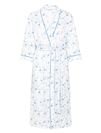 Ladies Lightweight Floral Dressing Gown 3 4 Sleeve 100% Cotton Wrap Around  Bathrobe UK 10 12 (Blue) at Amazon Women s Clothing store  90db0e707