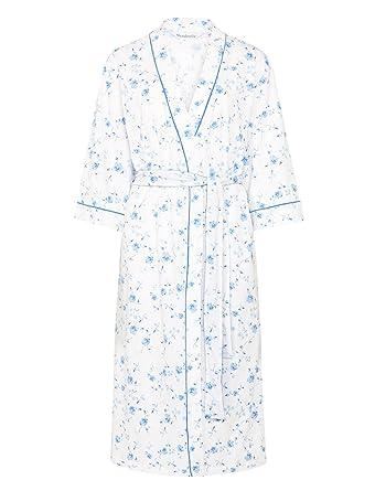 013b5e7344c Ladies Lightweight Floral Dressing Gown 3 4 Sleeve 100% Cotton Wrap Around  Bathrobe UK