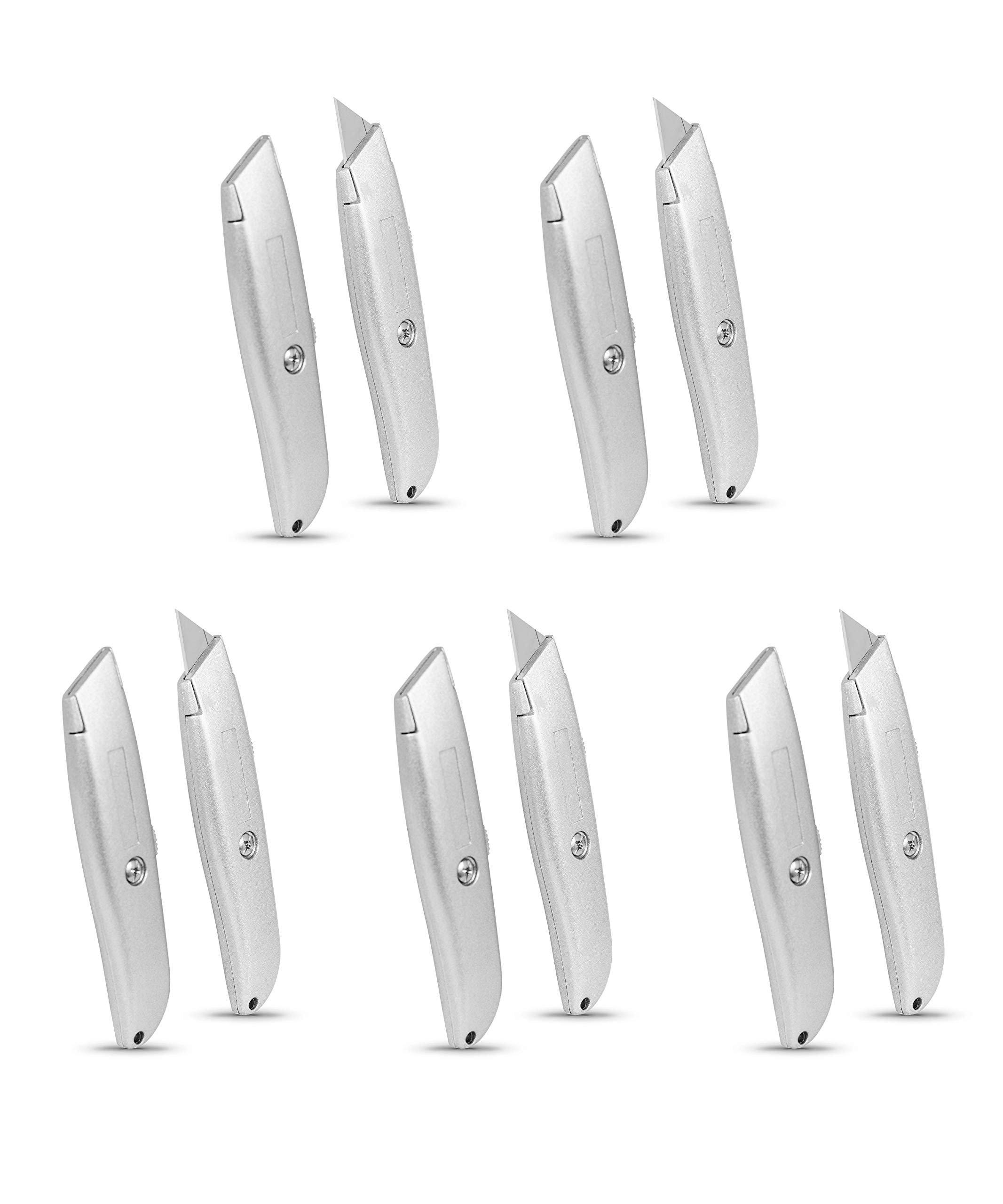 Internet's Best Classic Utility Knife - Set of 10 - Retractable Razor Knife Set - Extra Blade Refills - Box Cutter Locking Razor Knife - Full Metal Body - Silver by Internet's Best