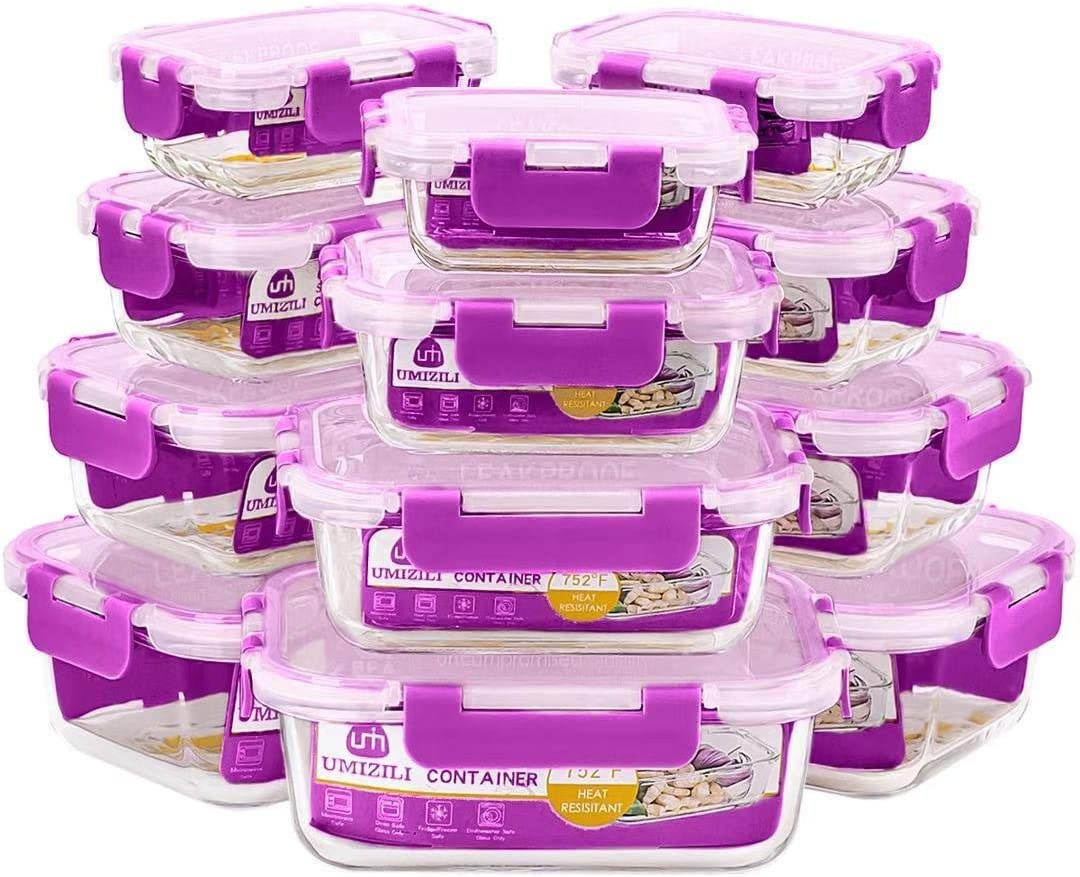 24 Piece Glass Food Storage Containers with Lids - 4 Size Glass Containers for Meal Prepping, Airtight Lunch Boxes with BPA Free Lids - Microwave, Fridge, Freezer, Dishwasher, Oven Safe