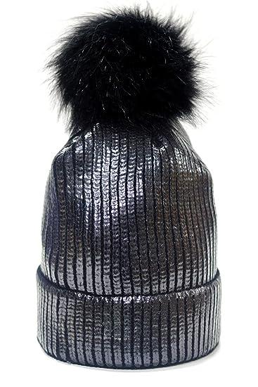 a8a55429ab6 FADA Winter Chunky Knit Party Metallic Shiny Beanie Skull Pom Pom Hats Cap