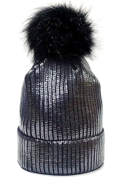 27f45a0fe02 FADA Winter Chunky Knit Party Metallic Shiny Beanie Skull Pom Pom Hats Cap