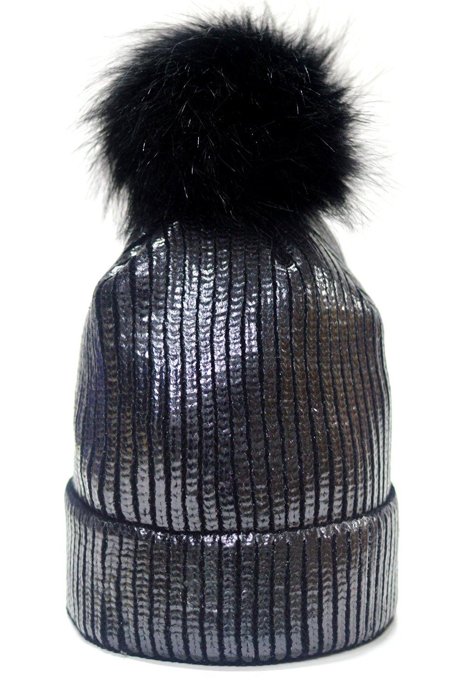 FADA Winter Chunky Knit Party Metallic Shiny Beanie Skull Pom Pom Hats Cap