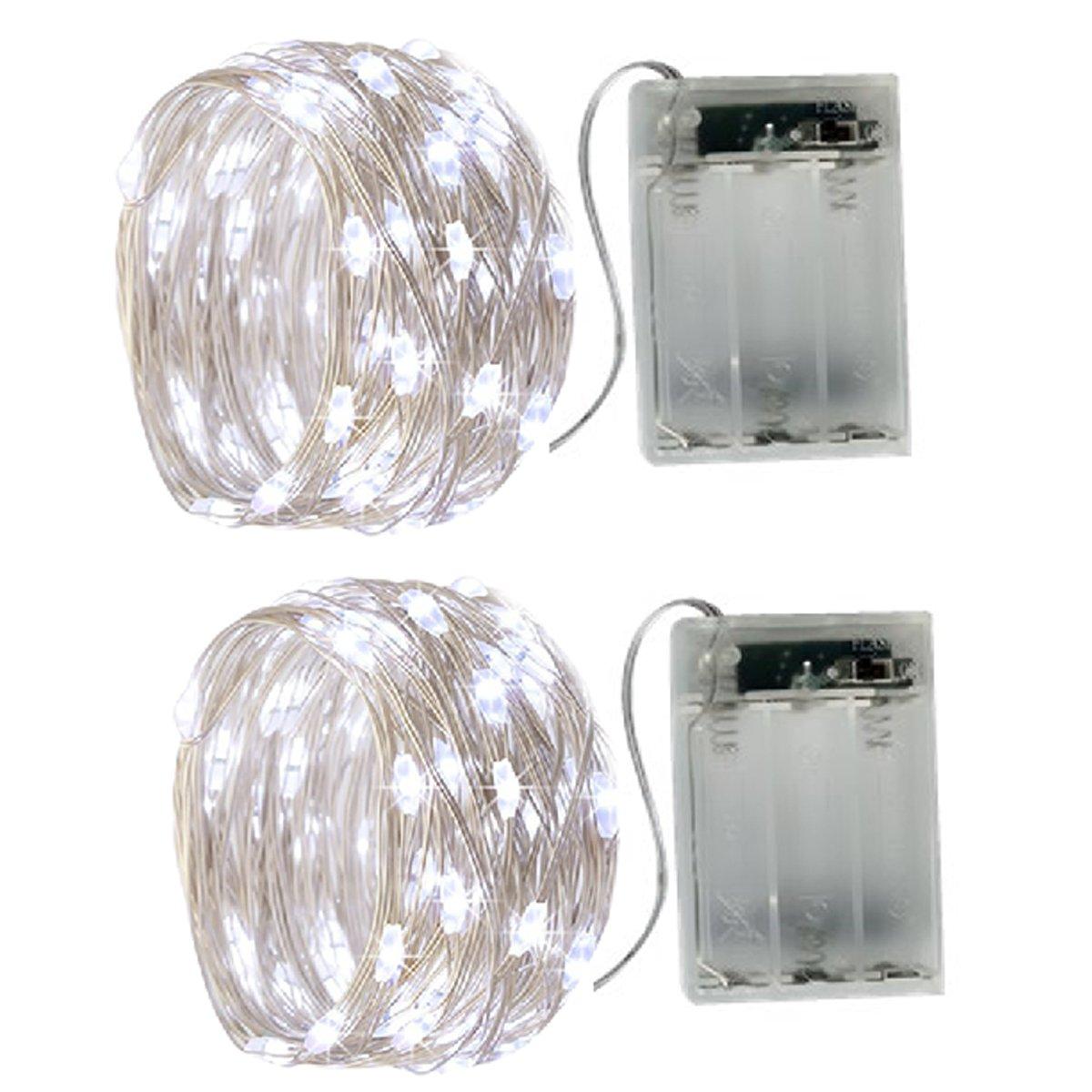 2 X Catena Luminosa Luci Stringa 20LEDs Ghirlanda 2m filo d'argento Batteria Operazione 2 Modalità Flash per Festa/ Matrimonio/ Giardino/ Natale, bianco caldo YD1