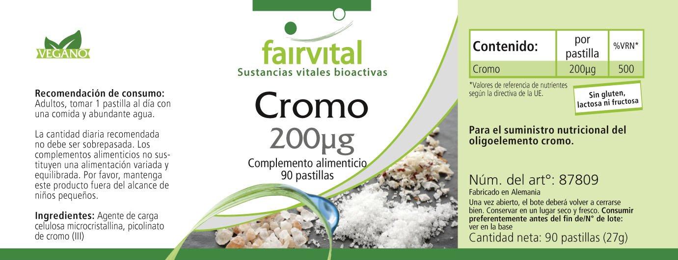 Picolinato de cromo 200 ug de, empaquetado a granel durante 3 meses - dosis alta - VEGAN - 90 comprimidos: Amazon.es: Salud y cuidado personal