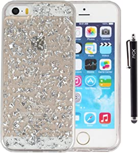 iPhone SE Case, iPhone 5S Case, iYCK Luxury Bling Glitter Sparkle [Gold Foil Embedded] Transparent Flexible Soft Rubber Gel TPU Protective Shell Hybrid Bumper Case Cover for iPhone 5/5S/SE - Silver