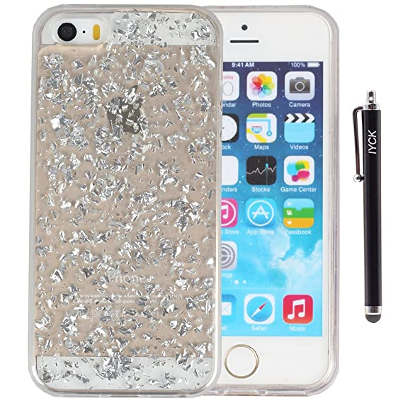 amazon com iphone se case, iphone 5s case, iyck luxury blingiphone se case, iphone 5s case, iyck luxury bling glitter sparkle [gold foil