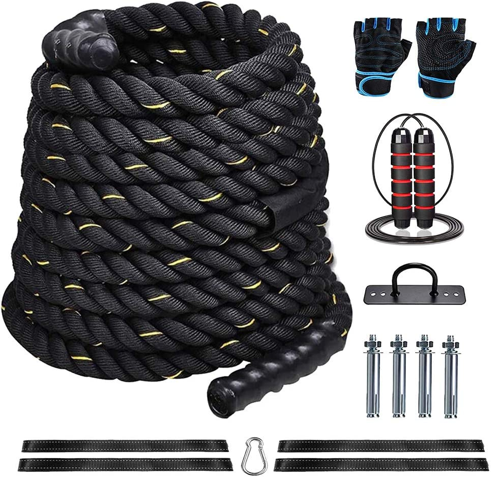 MM 1.5 Inch Diameter 40ft Length Battle Rope 100% Dacron Fitness Rope for Strength Training Home Gym Outdoor Cardio Workout, Anchor Included?Fitness Gloves?Rope Skipping…