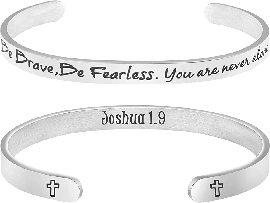 Jude Jewelers Stainless Steel I am Enough Mantra Inspirational Courage Statement Bangle Bracelet