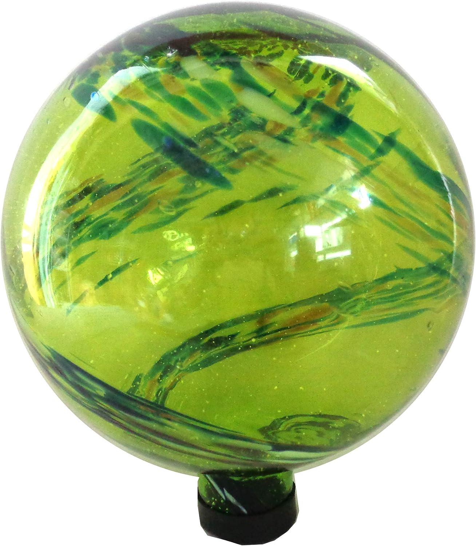 Gardener Select (16BFG01 Glow in The Dark Glass Gazing Globe - Decorative Glass Gazing Globe/Ball/Sphere Lawn Ornament for Gardens (10 Inch, Green)