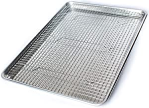 Commercial Quality Aluminum Baking Pan and Stainless Steel Cooling Wire Rack - Half Sheet Tray 18