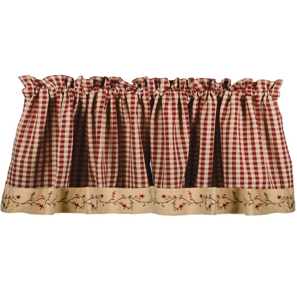 Primitive Home Decors Star Berry Vine Check Valance - Barn Red