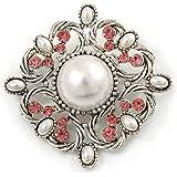 Vintage Bridal Corsage Simulated Pearl Pink Crystal Brooch In Silver Tone Metal - 50mm D