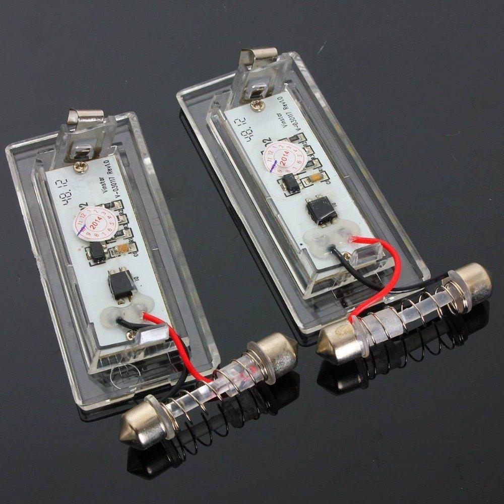 09 ricoy Paar Fehlerfrei LED Nummernschild-Leuchte Lampe f/ür X5/E53/X3/E83/03