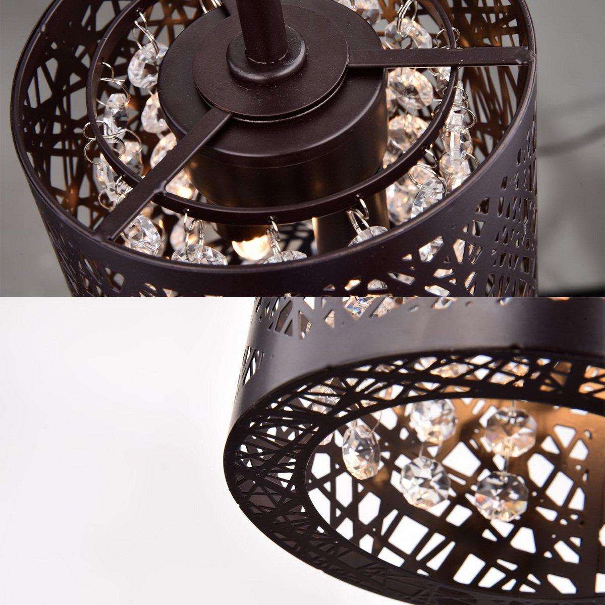 Dazhuan Antique Crystal 2-Lights Chandelier Metal Orb Pendant ...