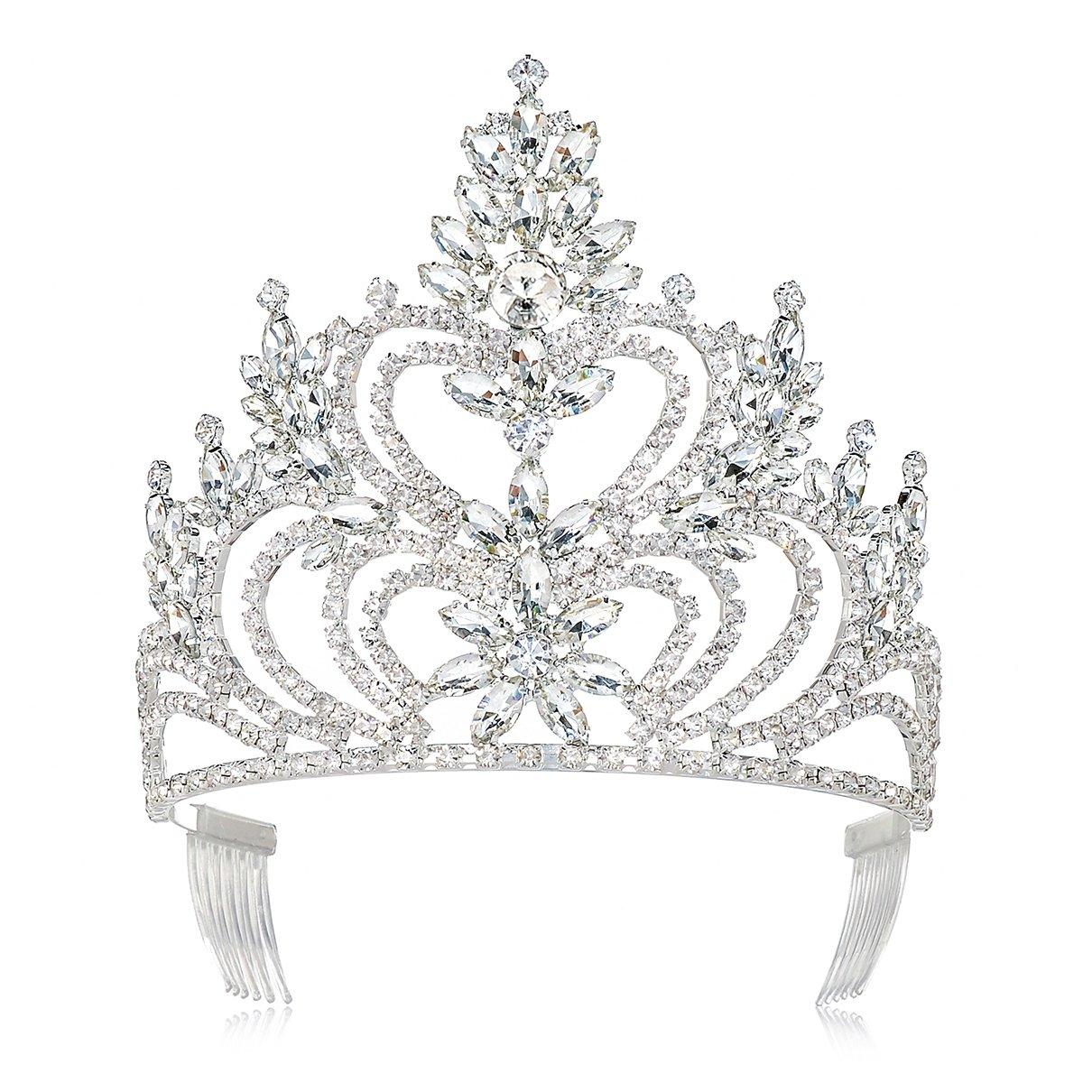 DcZeRong 5'' Tall Large Tiara Adult Women Birthday Pageant Prom Queen Silver Crystal Rhinestone Crown