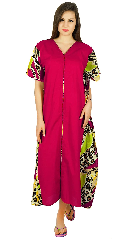 Bimba Blue Maxi Cotton Kaftan Long Pannel Kimono Caftan Elastic Night Coverup