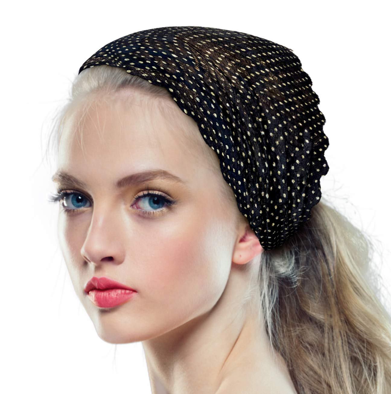 ShariRose Stunning Lace Head-Band Super Wide Floral in Black with Gold Lurex! Handmade (Black Gold)