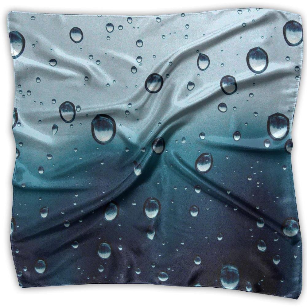 Water Rain Drops On Glass 100% Polyester Silk Feeling Large Square Kerchief Neck Scarf Women Headdress