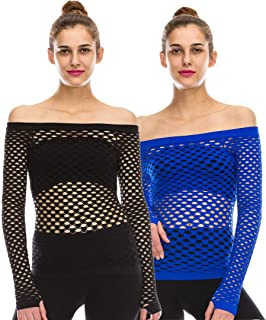 product image for Kurve Women's Sexy Fishnet Top – 2 Pack Stretch See Through Off Shoulder Long Sleeve Mesh Cover Up T Shirt (Made in USA)
