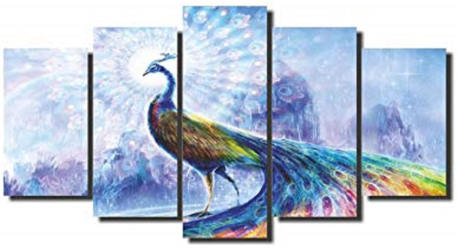 Mad Masters Peacock Spectrum 5 Panel Wall Painting Hd Canvas 173 X 84 Cm Pack Of 5 Mad C 2287 Amazon In Home Kitchen
