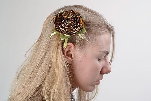 Amazon Homemade Textile Satin Fabric Flower Brooch Hair Clip