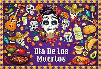 10x6.5ft Mexican Sugar Skull Backdrop Day of The Dead Dia de Los Muertos Photography Background Banner Photo Studio Props DSFU159