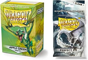Dragon Shield Bundle: Matte Apple Green 100 Count Standard Size Deck Protector Sleeves + 100 Count Clear Inner Card Sleeves