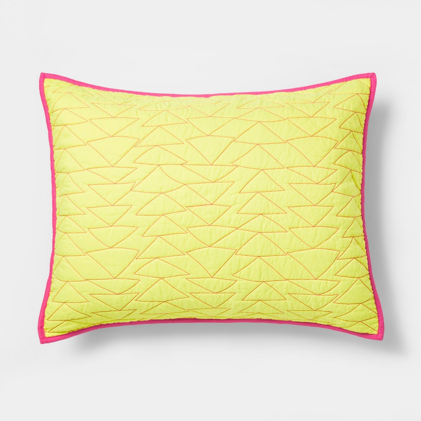 Pillowfort Triangle Stitch Quilted Pillow Sham (Standard) - Yellow, Pink