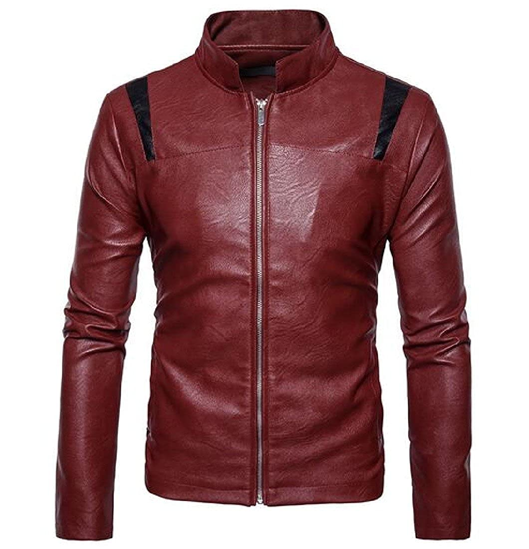 e1c8e74a3 Red Comfy Men Jacket Faux Leather Leather Leather Mandarin Collar Pure  color Overcoat b166ab