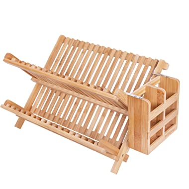 HBlife Dish Rack, Bamboo Folding 2-Tier Collapsible Drainer Dish Drying Rack With Utensils Flatware Holder Set (1, Dish Rack With Utensil Holder)