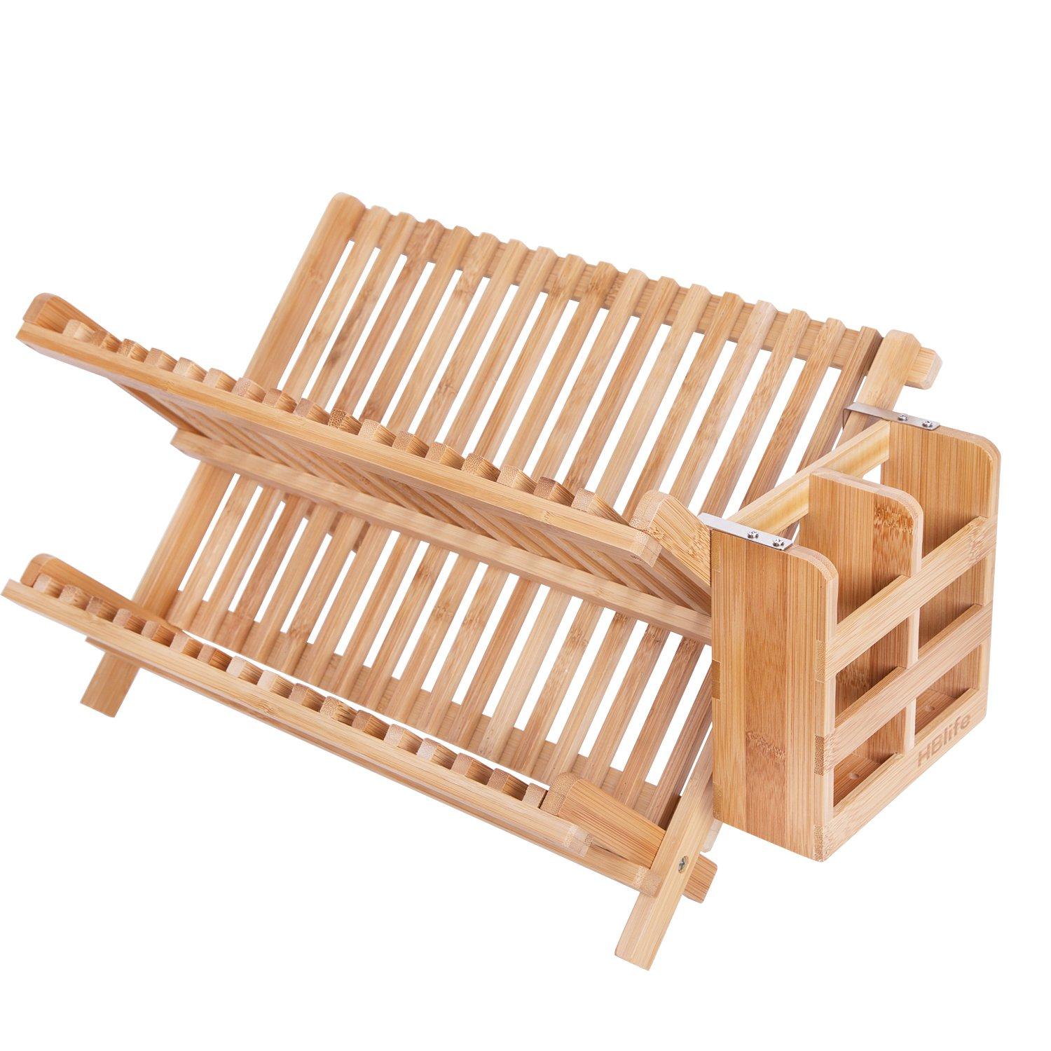 Dish Rack,HBlife Bamboo Folding 2-Tier Collapsible Drainer Dish Drying Rack With Utensils Flatware Holder Set (Dish Rack With Utensil Holder)…
