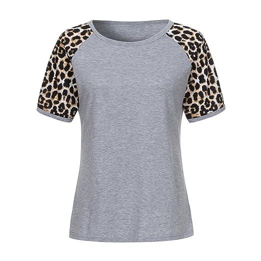 43cdd84bc865 Drfoytg Women Short Sleeve T Shirt, Blouse Stripes Tops Printing Tee  Popular Leopard Pullover (