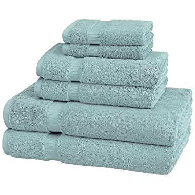 Pinzon Organic Cotton Bathroom Towels, 6 Piece Set, Spa Blue