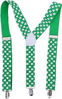 Amosfun Shamrock Clover Suspenders Bretelles réglables en forme de X Défilé du jour de la St Patrick 315X959PD132332LLA9AK950