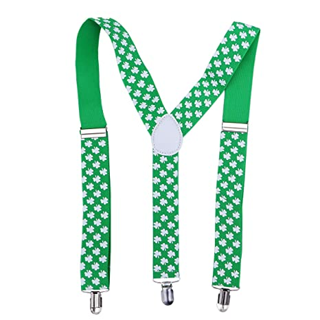 9ca0cd453 Buy TENDYCOCO Green St. Patrick s Day Suspenders for Men Women Shamrock  Suspenders St. Patrick s Day Costume Accessories for Parade Performance  Online at ...