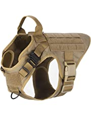 "ICEFANG Tactical Dog Harness,K9 Working Dog Vest,No Pull Front Leash Clip D-Ring,Hook and Loop for ID Patch Snap-Proof (M (Chest 25""-31""), CB-2x Metal Buckle)"