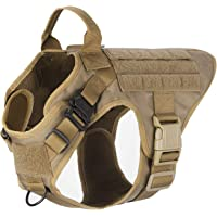 "ICEFANG Dog Harness Medium Breed,Tactical Molle Dog Vest,No Pulling Front Clip, Hook Loop Panel Dog Patch,Metal Buckle (M 25""-30"" Girth), CB-2x Metal Buckle"