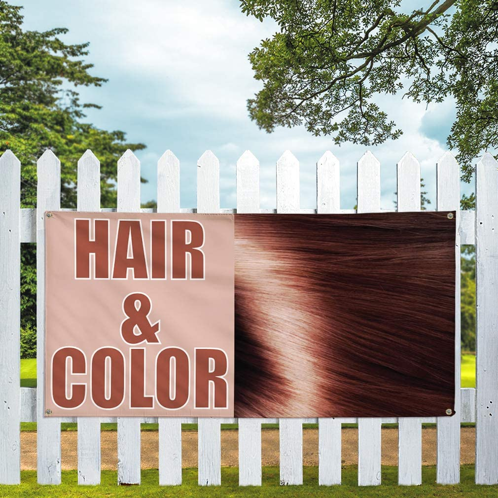 Vinyl Banner Multiple Sizes Hair /& Color Outdoor Advertising Printing Business Outdoor Weatherproof Industrial Yard Signs Brown 4 Grommets 24x48Inches