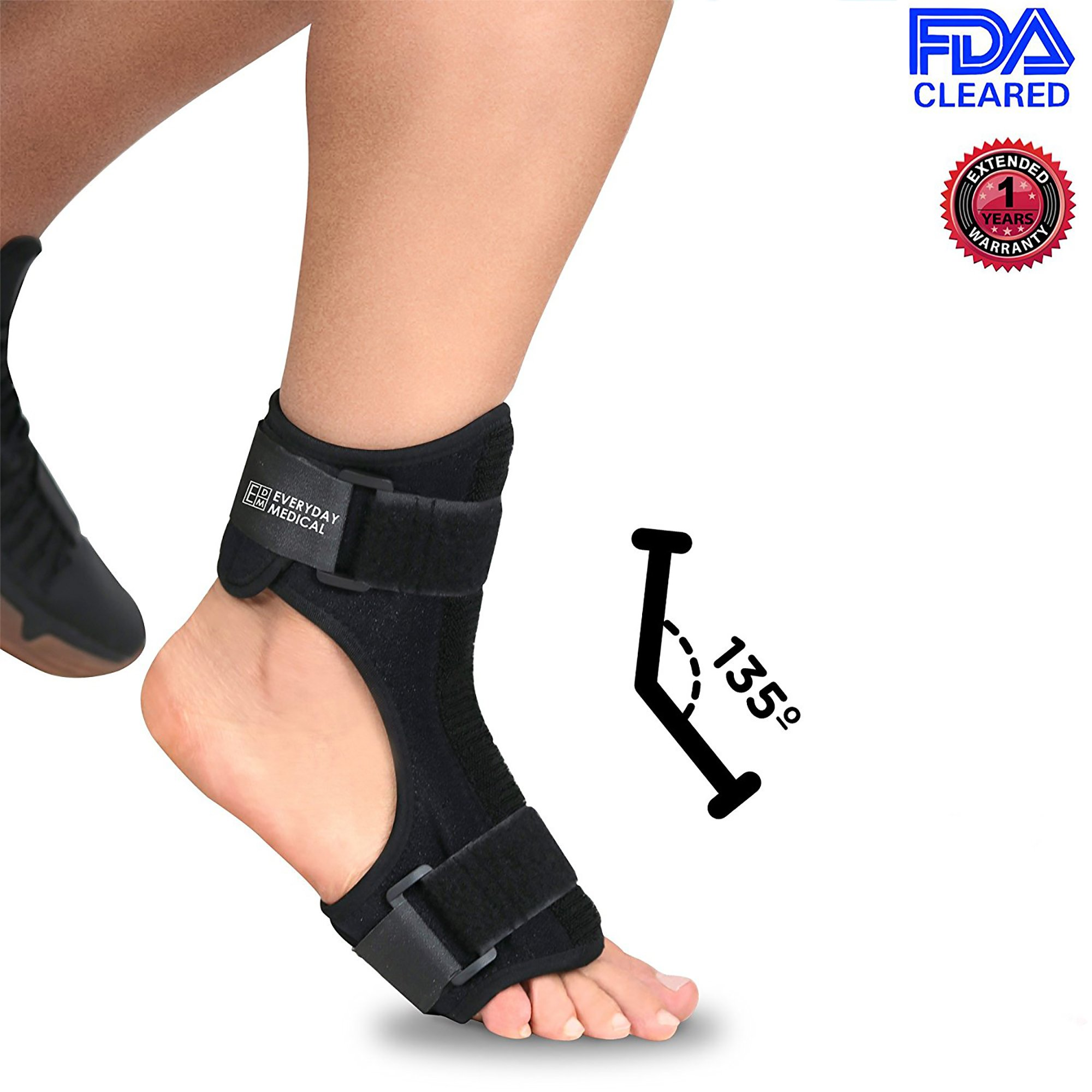 Everyday Medical Plantar Fasciitis Night Splint - Dorsal Night Splint for Plantar Fasciitis - Ergonomic Arch Foot Stretching Support with Bendable Bar - for Achilles Tendonitis, Heel Pain & Drop Foot