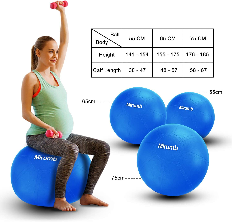 Fitness Bureau Grossesse Chaise d/équilibre Ballon Fitness 75CM 65CM 55CM Pilates Big Yoga Ball for Sport Fitness pour Yoga Mirumb Swiss Ball
