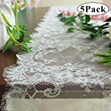 Pardecor Lace-Table-Runner White Embroidered 16x120-Inch 5 Pack Lace Table Runner Boho Vintage Classy Table Runner Design Eyelash Wedding Lace Table Runner