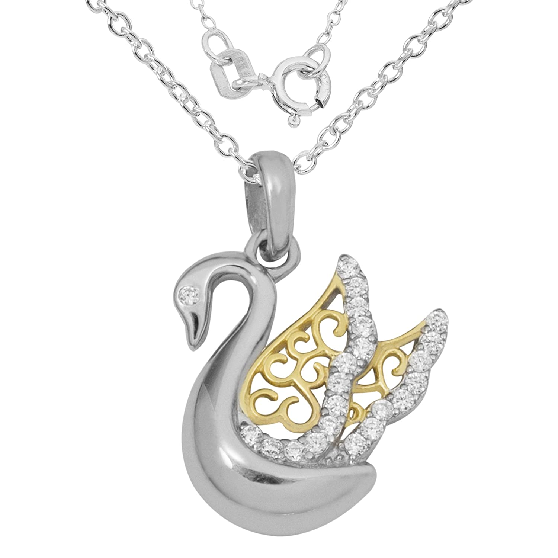 Hallmark Jewelry Women s Sterling SilverTwo-Tone Cubic Zirconia Swan Pendant Necklace, 18 Chain