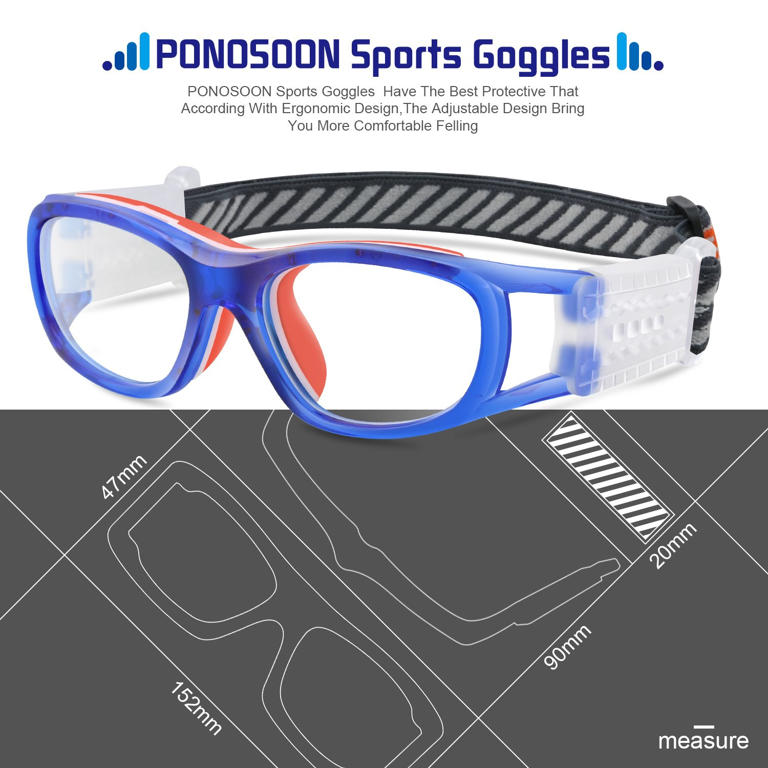 1cabd9a2941 PONOSOON Sports Goggles Glasses for Kids for Basketball Football Volleyball  1812(Transparent Blue)