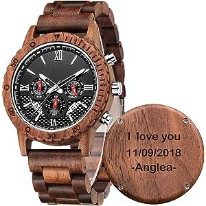 Amazon.com: Personalizado Grabado de Madera Relojes para los ...